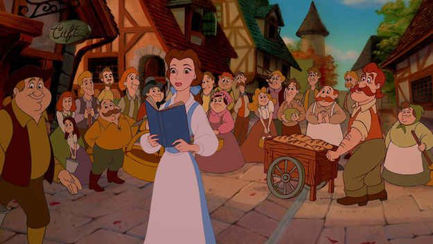 Belle is the only person from her village to wear blue.