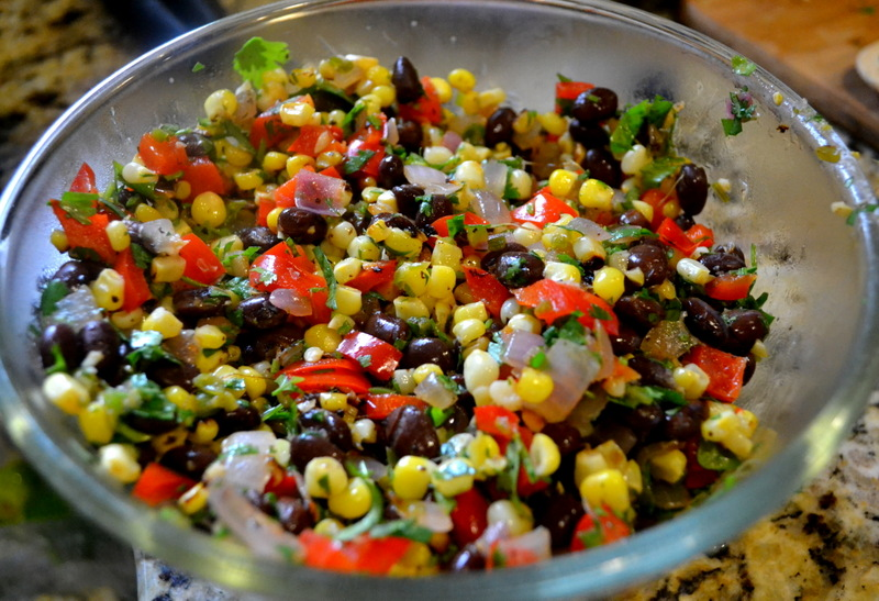 Black Beans and Red Bell Peppers